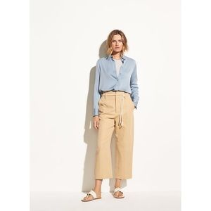 Vince High Rise Wide Leg Linen Crop, Tan / M